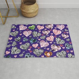 Heart Diamonds are Forever Love Violet Rug