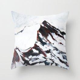 Snowy mountain peak Throw Pillow