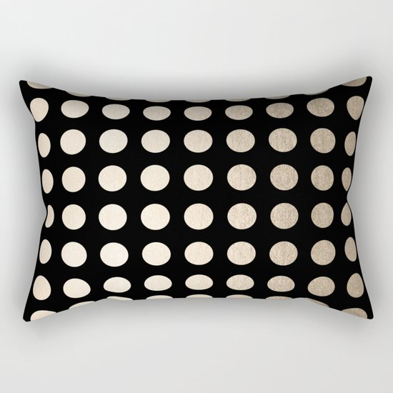 White Gold Sands Polka Dots on Midnight Black Rectangular Pillow