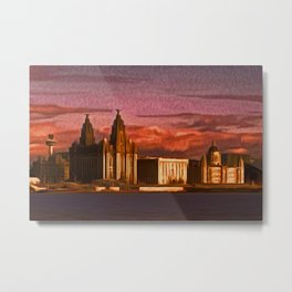 Liverpool Waterfront at Sunset (Digital Art) Metal Print