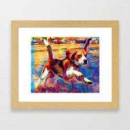 Beach Beagle Framed Art Print