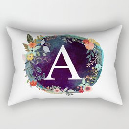 Personalized Monogram Initial Letter A Floral Wreath Artwork Rectangular Pillow