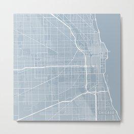 Chicago Map, USA - Slate Metal Print