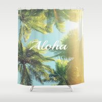 """aloha Shower Curtains featuring AloHa by """"CVogiatzi."""