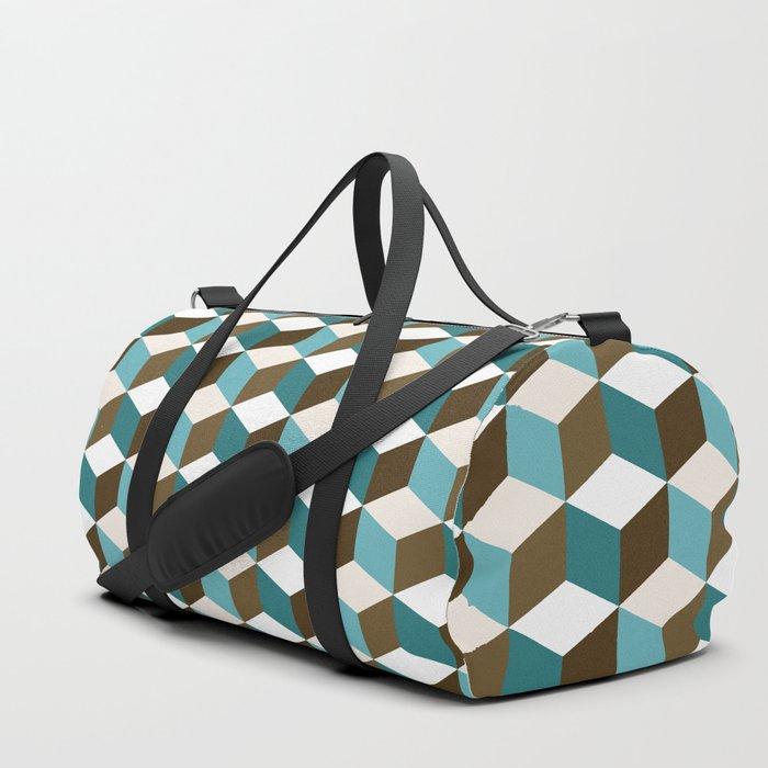 Cubes Pattern Teals Browns Cream White Duffle Bag