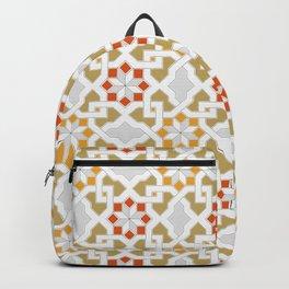 red, orange, white, brown -  Oriental design - orient  pattern - arabic style geometric mosaic Backpack