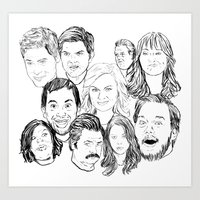 parks and recreation Art Prints featuring Parks and Recreation 'Rec a Sketch' by Moremeknow