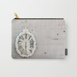 White Antique Clock, Wood Wall, Time Passing, Gone Memories, Retro Art Print Carry-All Pouch
