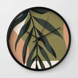 Tropical Leaf- Abstract Art Wall Clock