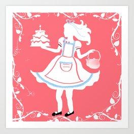 Alice in Wonderland White Silhouette With Vines Art Print