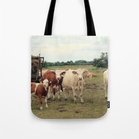 cows Tote Bags featuring Cows by Falko Follert Art-FF77