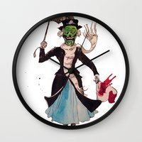 mary poppins Wall Clocks featuring Zombie Mary Poppins by Brendan Purchase