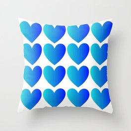 Love Hearts Classic Blue Ombre Throw Pillow