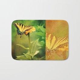 Yellow Swallowtail Butterfly on Zinnia Bath Mat