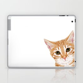 Peeking Orange Tabby Cat - cute funny cat meme for cat ladies cat people Laptop & iPad Skin