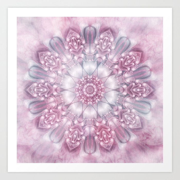 Dreams Mandala in Pink, Grey, Purple and White Art Print