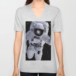 Astronaut With Nebula Reflected Unisex V-Neck