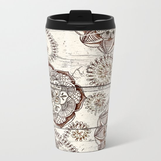 Coffee & Cocoa - brown & cream floral doodles on wood Metal Travel Mug