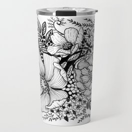 Mixed Floral Doodle in Black and White Travel Mug