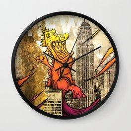 Godzilla Pink & Orange Royal Stain Wall Clock