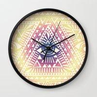 illuminati Wall Clocks featuring Native Illuminati by Uprise Art & Design