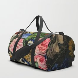 Parrot Tulips, Roses, Dahlias, Zinnia & Fig Bouquet  (Flowers of the Imagination) by Rachel Ruysch Duffle Bag