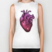 anatomical heart Biker Tanks featuring Anatomical Heart by Hungry Designs