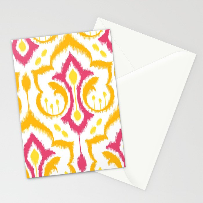 Ikat Damask - Berry Brights Stationery Cards