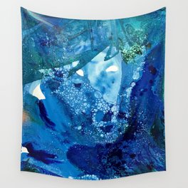Environmental Blue Leaves, Tiny World Collection Wall Tapestry
