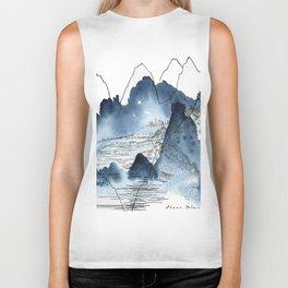 Love of mountains landscape format Biker Tank