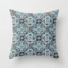 Watercolor Painted Spanish Inspired Tiles (Original) Throw Pillow
