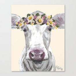 Cow With Flower Crown, Cute Cow Up Close Canvas Print