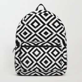 Black and white watercolor diamond pattern Backpack