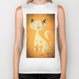 Artistic pussycat with a long tail. Biker Tank
