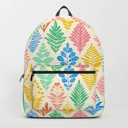 Geometric Flower Shapes Rhombus Florals Pink Green Blue Off-White Vintage Retro Pattern Backpack