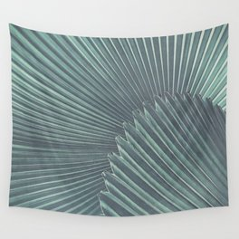 Tropical Palm Leaf Matte Teal Wall Tapestry