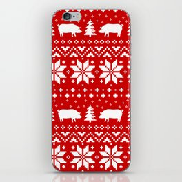 Pig Silhouettes Christmas Sweater Pattern iPhone Skin