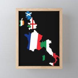 Six European Rugby Teams Map On Black Framed Mini Art Print