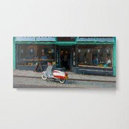 Scooter At A Shrewsbury Cafe Metal Print