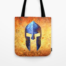Blue Spartan Helmet On Rust Background - Molon Labe Tote Bag