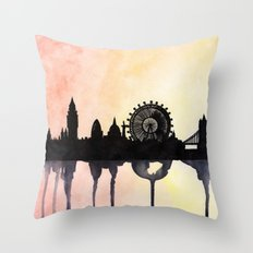 London Watercolour Skyline Throw Pillow