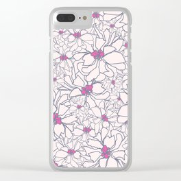 Pink Peony Garden Clear iPhone Case