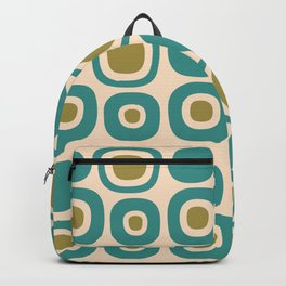 Mid Century Modern Garden Path Pattern 337 Turquoise and Gold Backpack