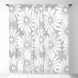Summer Flowers Grey Blackout Curtain
