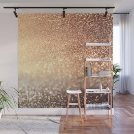 Cozy Copper Espresso Brown Ombre Autumnal Mermaid Glitter Wall Mural