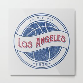 Los Angeles basketball white vintage logo Metal Print