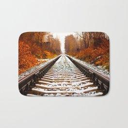 Autumn Forest Train Tracks Bath Mat
