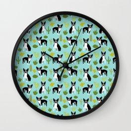 Boston Terrier cactus desert southwest baby mint dog art boston terrier owners pet portraits furbey  Wall Clock