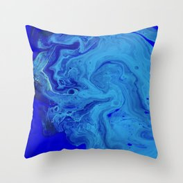 All the Blues, Abstract Fluid Acrylic Art Print Throw Pillow
