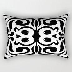 Black and White Decorative Skull Illustration Rectangular Pillow